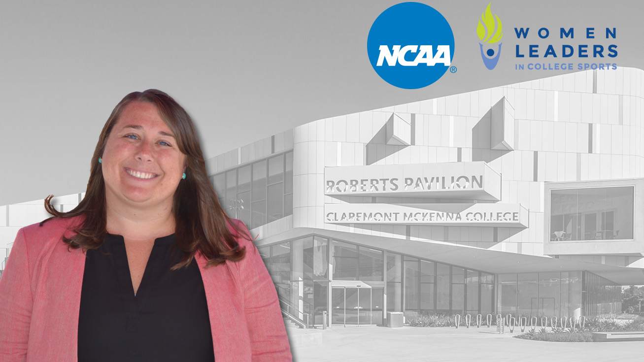 A head shot of Nikki Ayers superimposed in front of Roberts Pavilion. An NCAA logo and a Women Leaders in College Sports logo are also superimposed