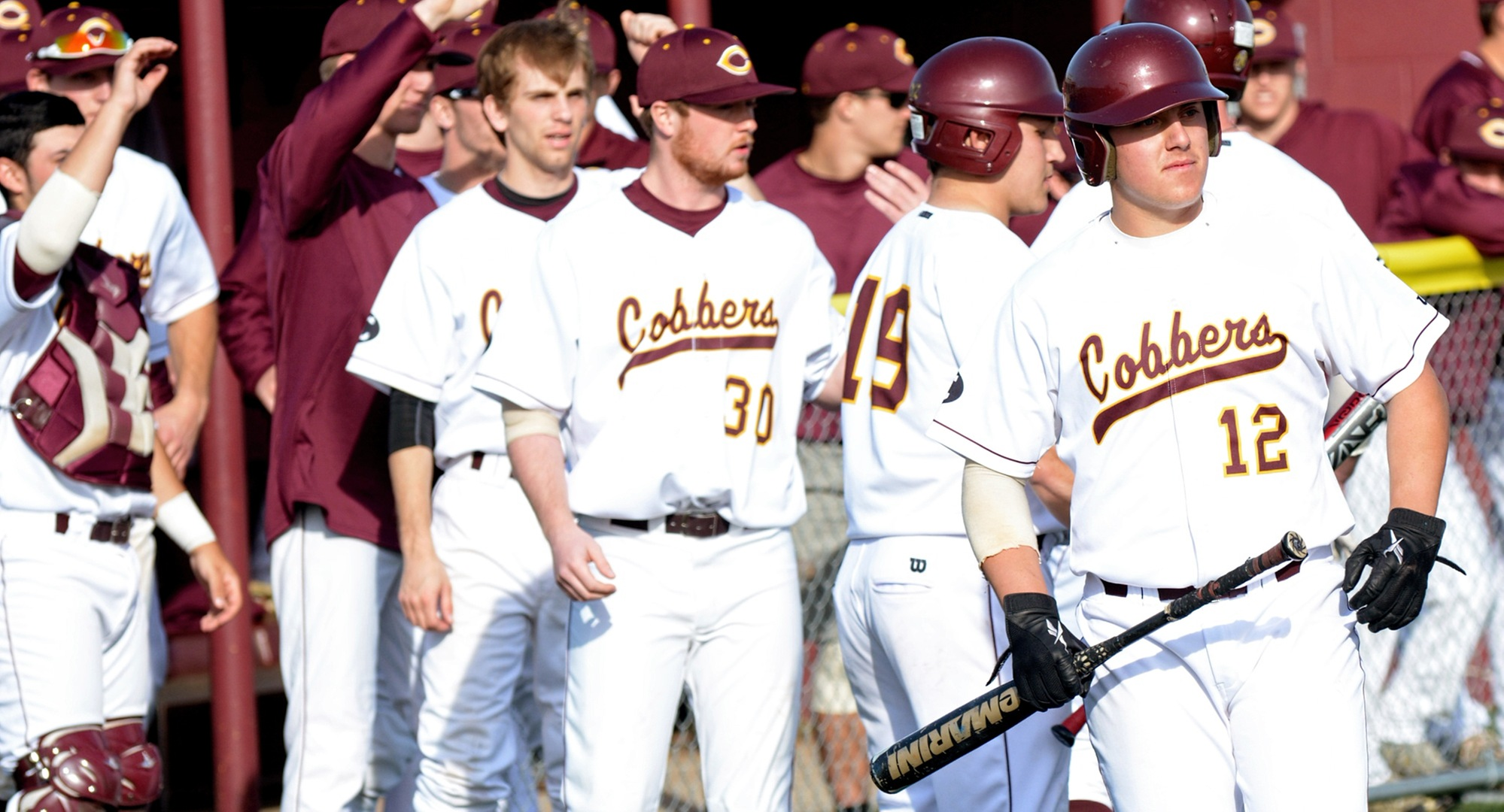 Nate Leintz (#12) had one of the Cobbers' five extra base hits in the team's 8-7 non-conference win at Minn.-Morris.