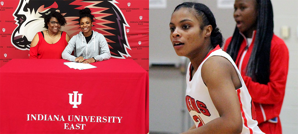 Sybil Roseboro, pictured with her mother on the left, will play at Indiana University East after two very successful years at Owens.