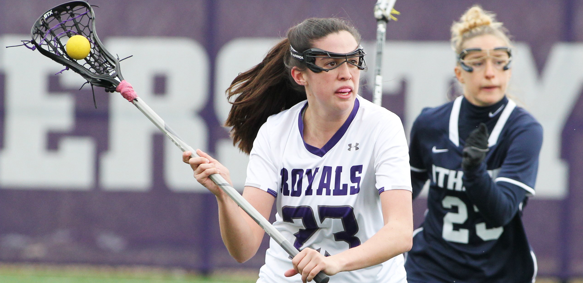 Junior Kate Calabro had nine draw controls to keep Scranton in it all day, but visiting Ithaca pulled out a 12-10 win over the Royals on Sunday at Weiss Field.