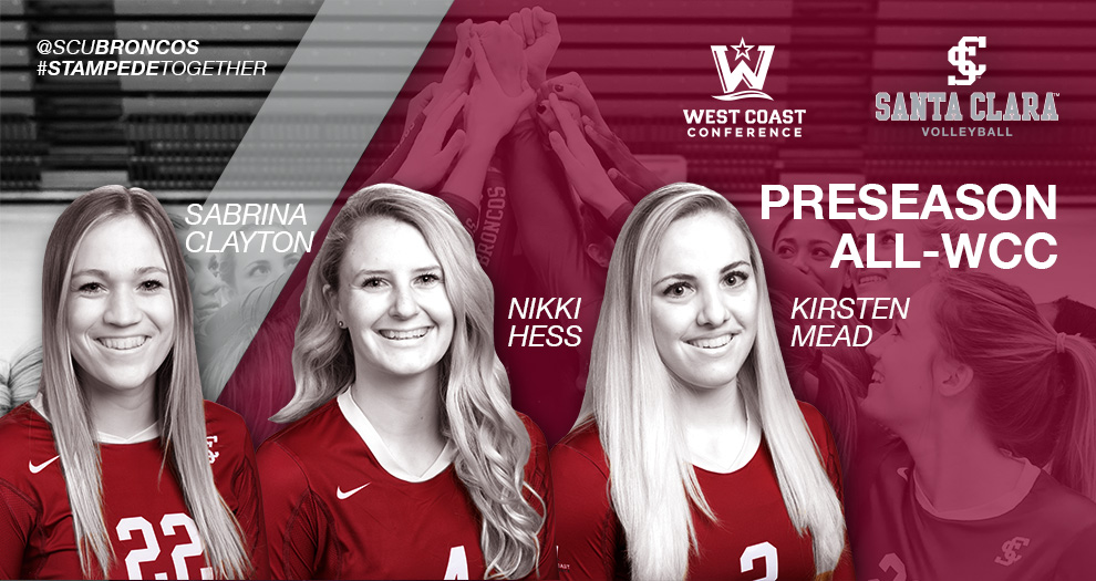 Volleyball Tops WCC with Three Preseason All-Conference Selections; Picked to Finish Third