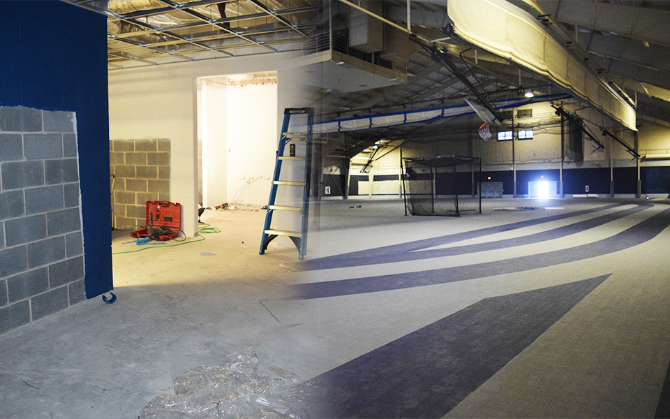 Updated photos of the summer projects in Breidegam Fieldhouse with the new locker rooms on the left and the new Mondo floor on the right.