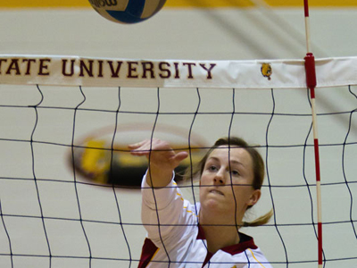 Ashley Huntey posts a match-leading 11 kills as Ferris State wins for the fourth time in a row.  (Photo by Ben Amato)