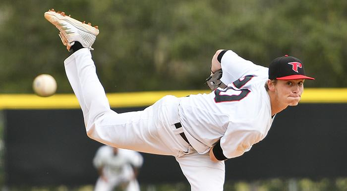 Alec Barger held Florida Southwestern to one hit in six innings as the Eagles won 10-0. (Photo by Tom Hagerty, Polk State.)