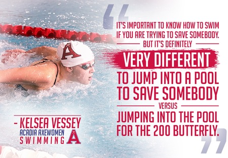For Acadia's Kelsea Vessey, swimming is about more than medals