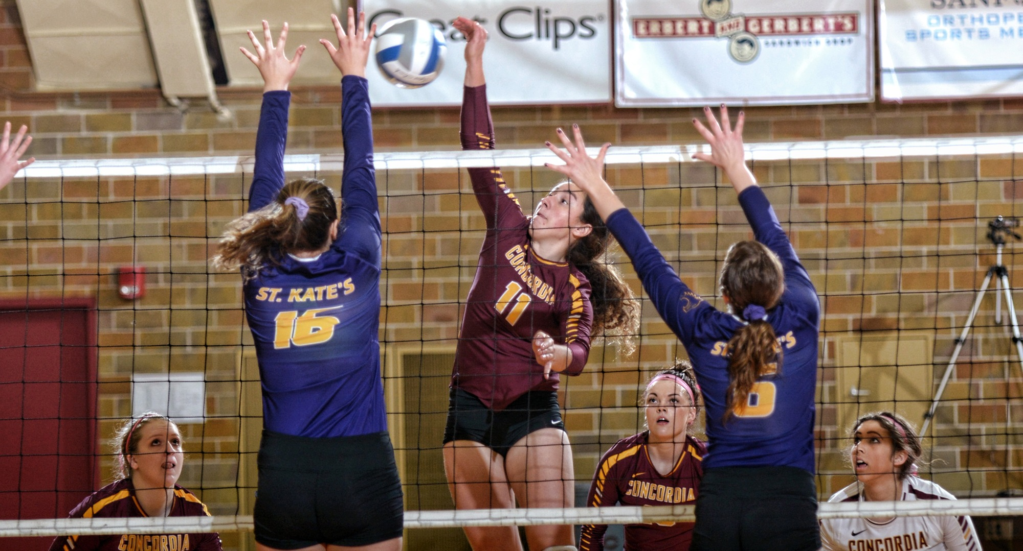 Emma Chandler puts down a winner in the Cobbers' 3-0 win over St. Catherine.