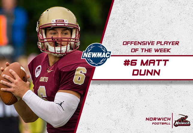Football: Dunn Claims NEWMAC Offensive Player of the Week Honors