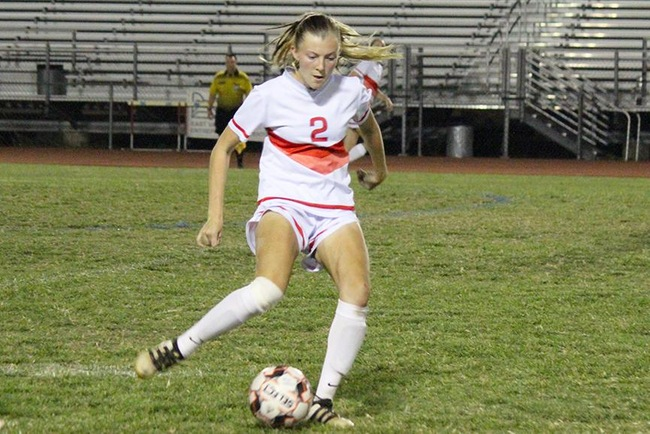 Mesa's Megan Belles dribbles the ball up field Tuesday night against Gateway.  It was Belles who scored the only goal to help Mesa defeat the Geckos. (Photo by Aaron Webster)