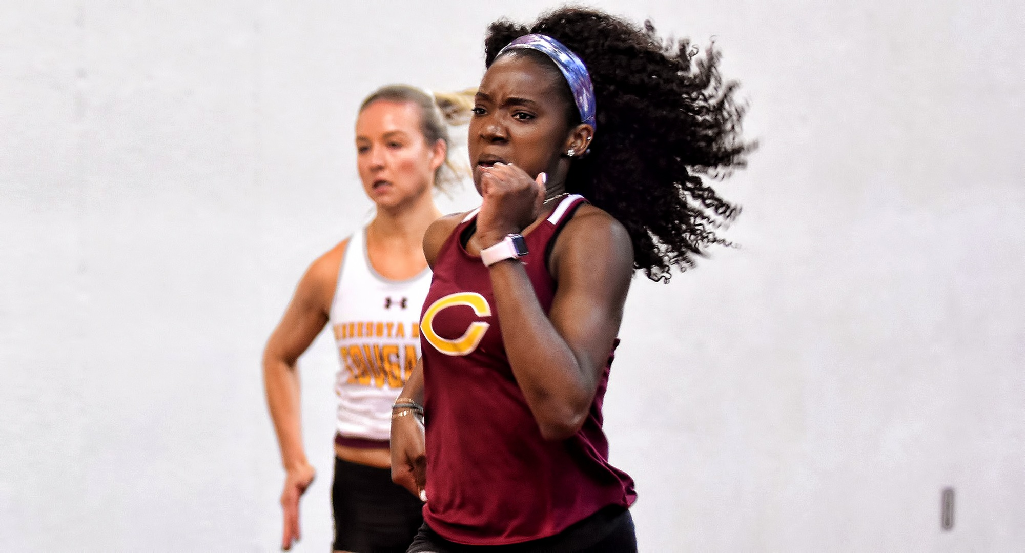 Senior Zahra Banks won the 60-meter dash at the St. Benedict Invite with the fifth fastest time in school history. Her event win helped the Cobbers claim the team championship.