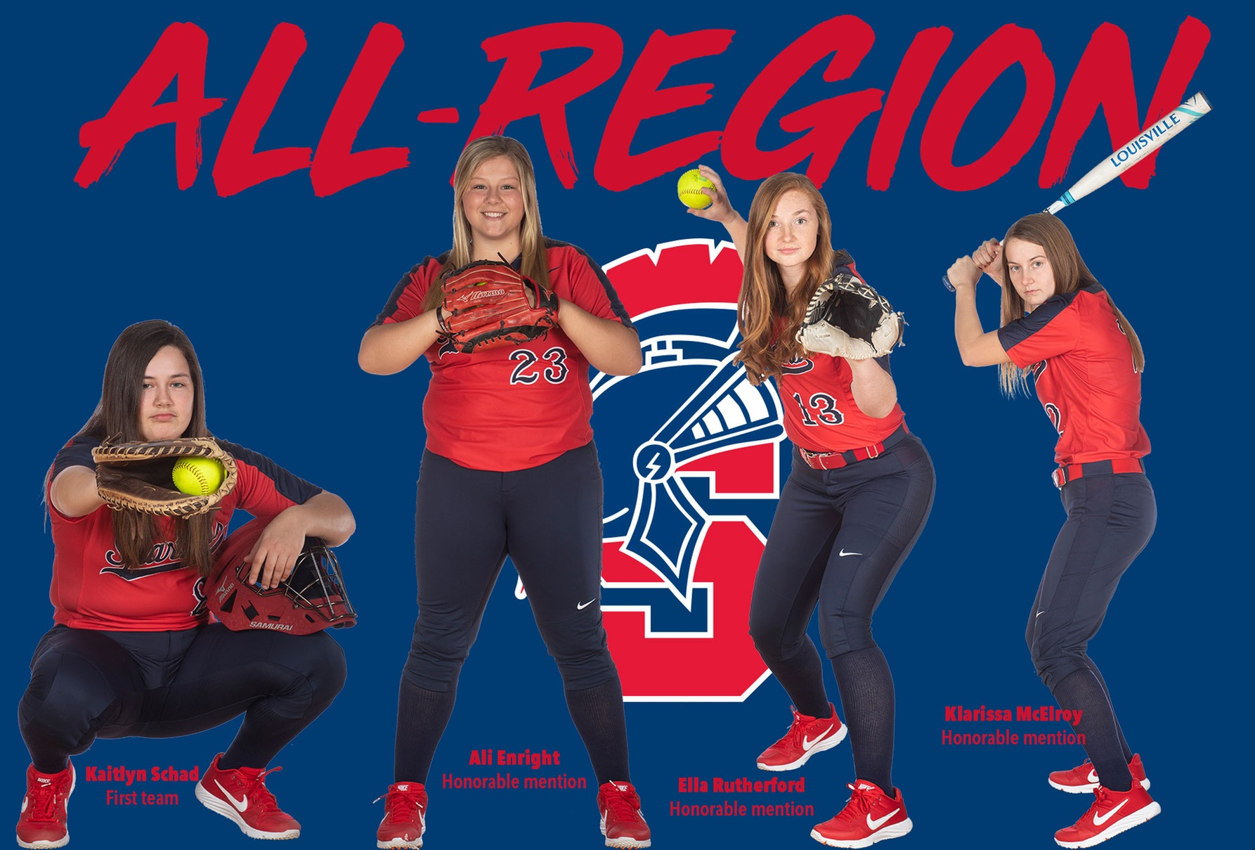 Southwestern's Kaitlyn Schad, Ali Enright, Ella Rutherford and Klarissa McElroy all earned all-region honors.