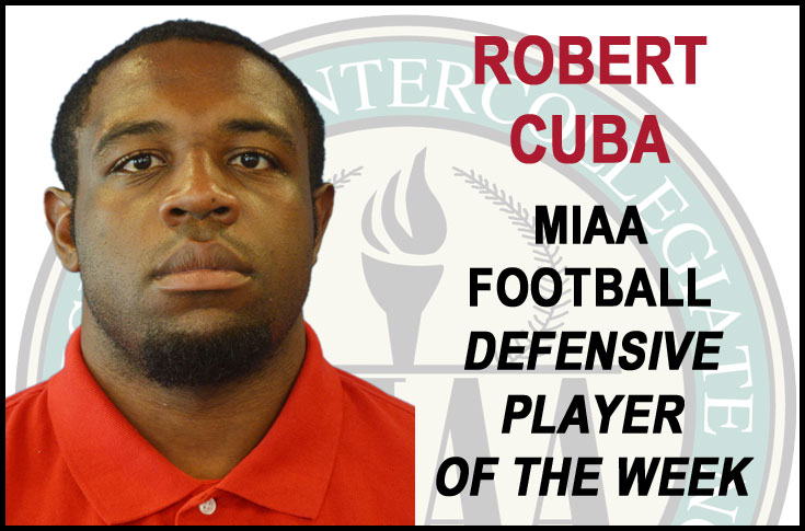 Cuba selected MIAA Football Defensive Player of the Week