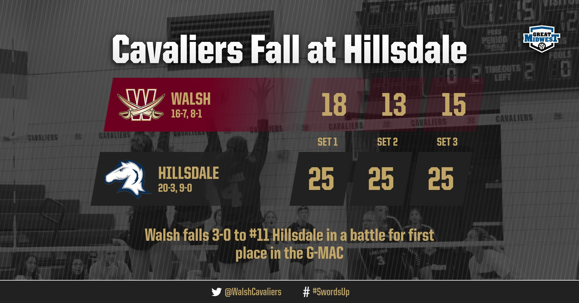 Volleyball Defeated by #11 Hillsdale, 3-0