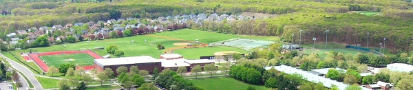Aerial photo of athletic facilities. The soccer/lacrosse field, softball field and baseball field.