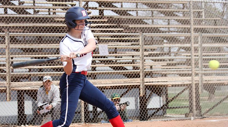 Ashley Wilson hit a two-run home run in Game 1 vs. Butler on Wednesday in El Dorado. The Blue Dragons fell 8-7 and 9-1. (Bre Rogers/Blue Dragon Sports Information)