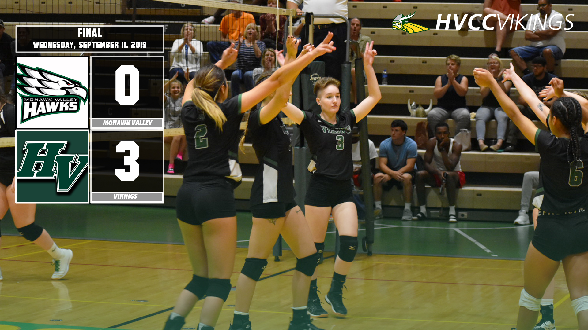 Volleyball defeats Mohawk Valley 3-0 on 9/11/2019