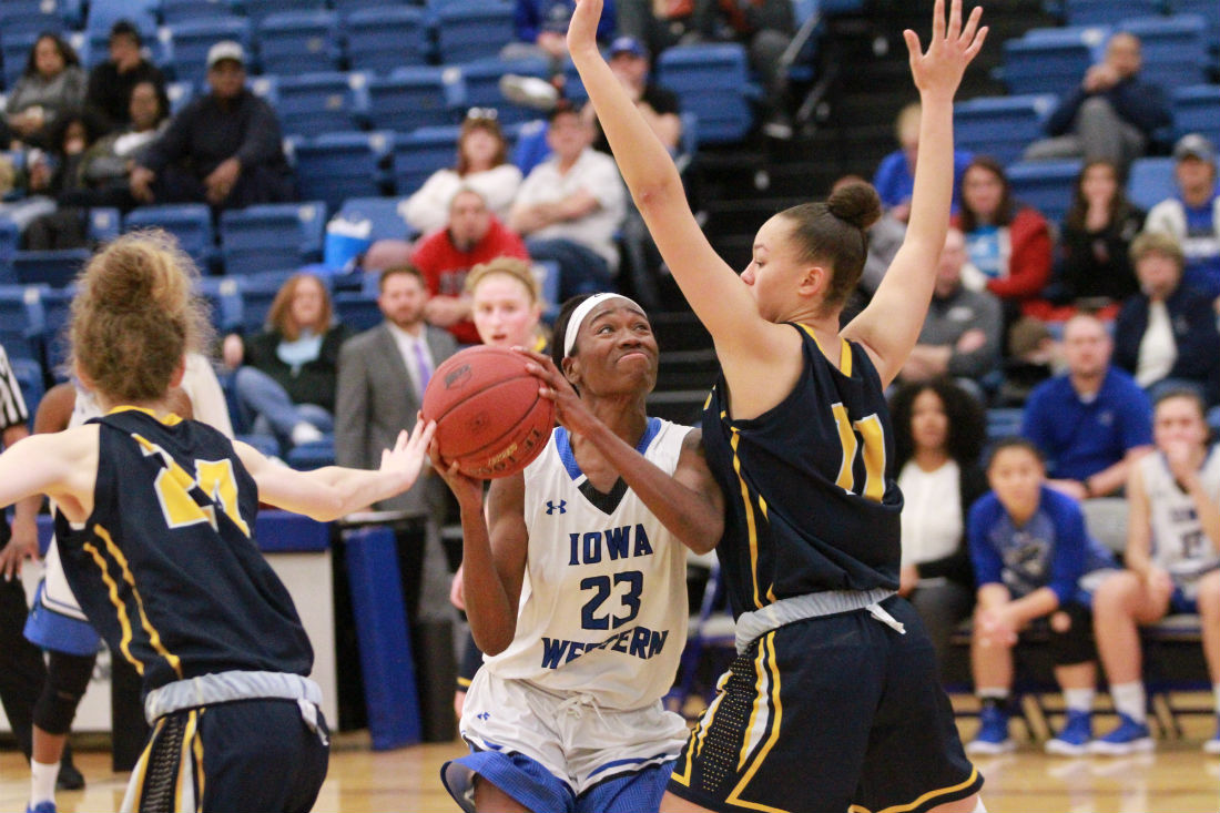 Miya Bell put up a career high with 18 points in the win over State Fair on Saturday in Reiver Arena.