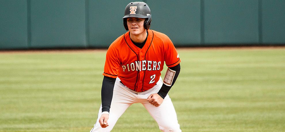 Daulton Martin went 4-for-6 with a double, three walks and two RBI on the day in Tusculum's sweep over Young Harris.