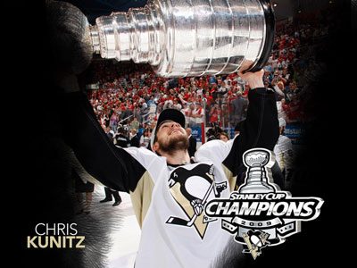 Chris Kunitz hoists the Stanley Cup for the second time in his NHL career (Photo courtesy of Pittsburgh Penguins and the NHL)