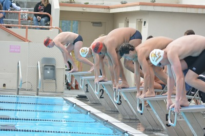 PCC swimmers at the starting blocks at Long Beach City College, photo courtesy of LBCC sports information.