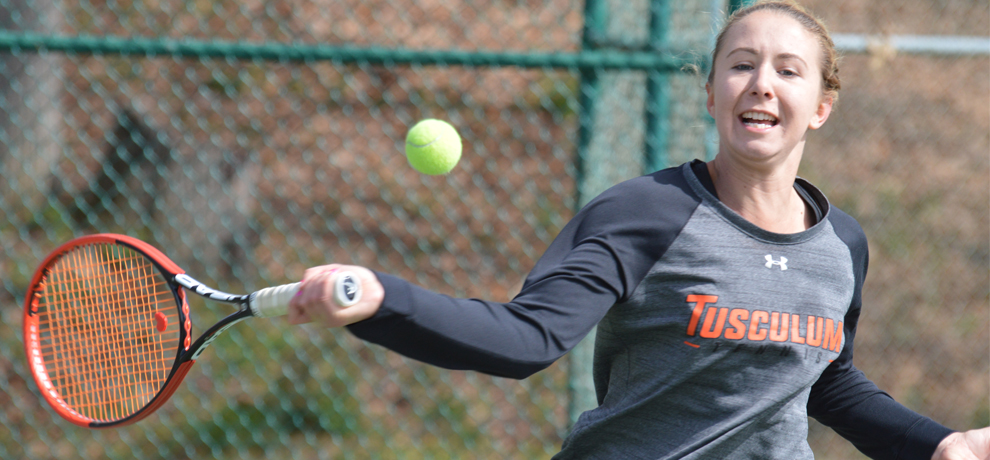 Katarina Majorova won both her doubles and singles matches in Tusculum's 8-1 win over No. 37 Newberry
