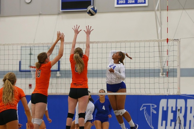 Cecilia Burroughs had 18 kills for the Falcons in their loss