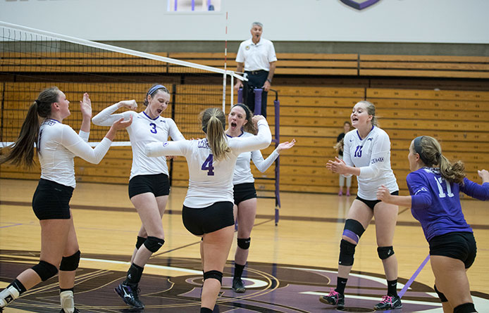 Balanced effort leads women's volleyball past Southern New Hampshire, 3-1