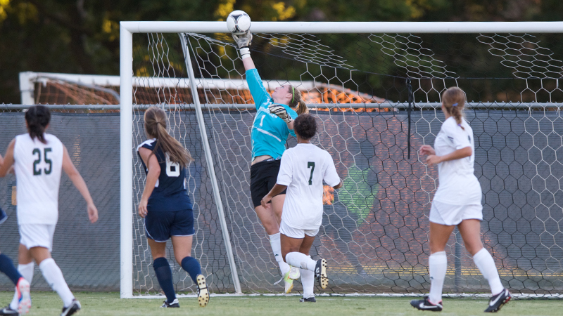 Shelby Tomasello made this leaping save on Friday night in overtime against UC Davis.