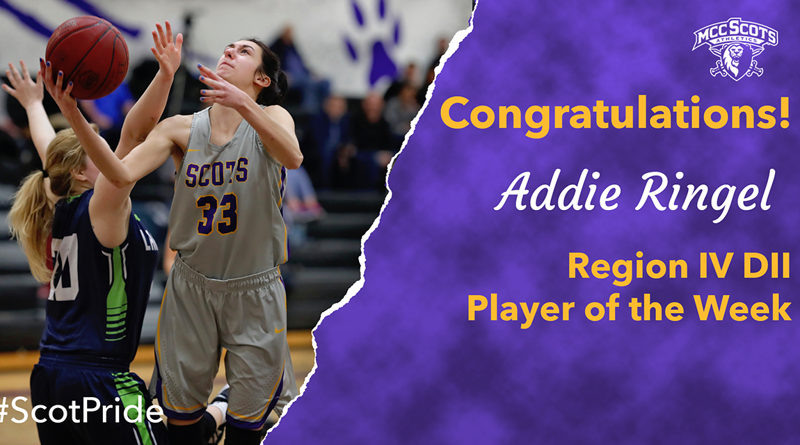 Congratulations to Addie Ringel NJCAA Region IV DII Player of the Week, January 20!
