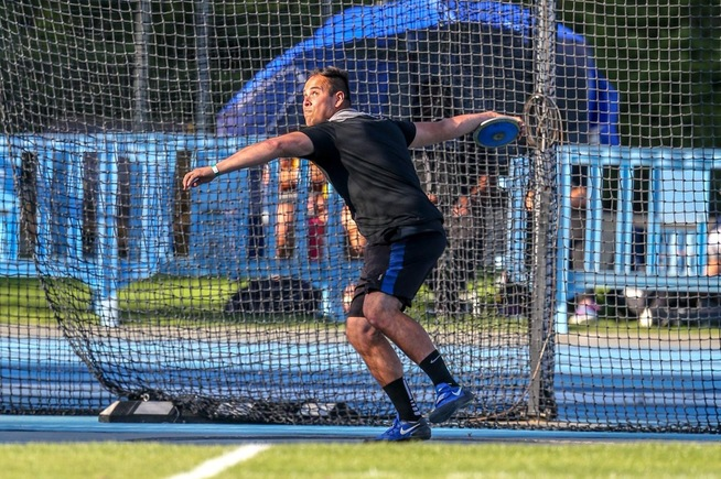 File Photo: Jorge Gonzalez won the discus at the Arnie Robinson Invitational
