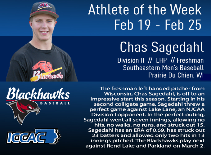 Sagedahl Receives ICCAC Athlete of the Week Back to Back