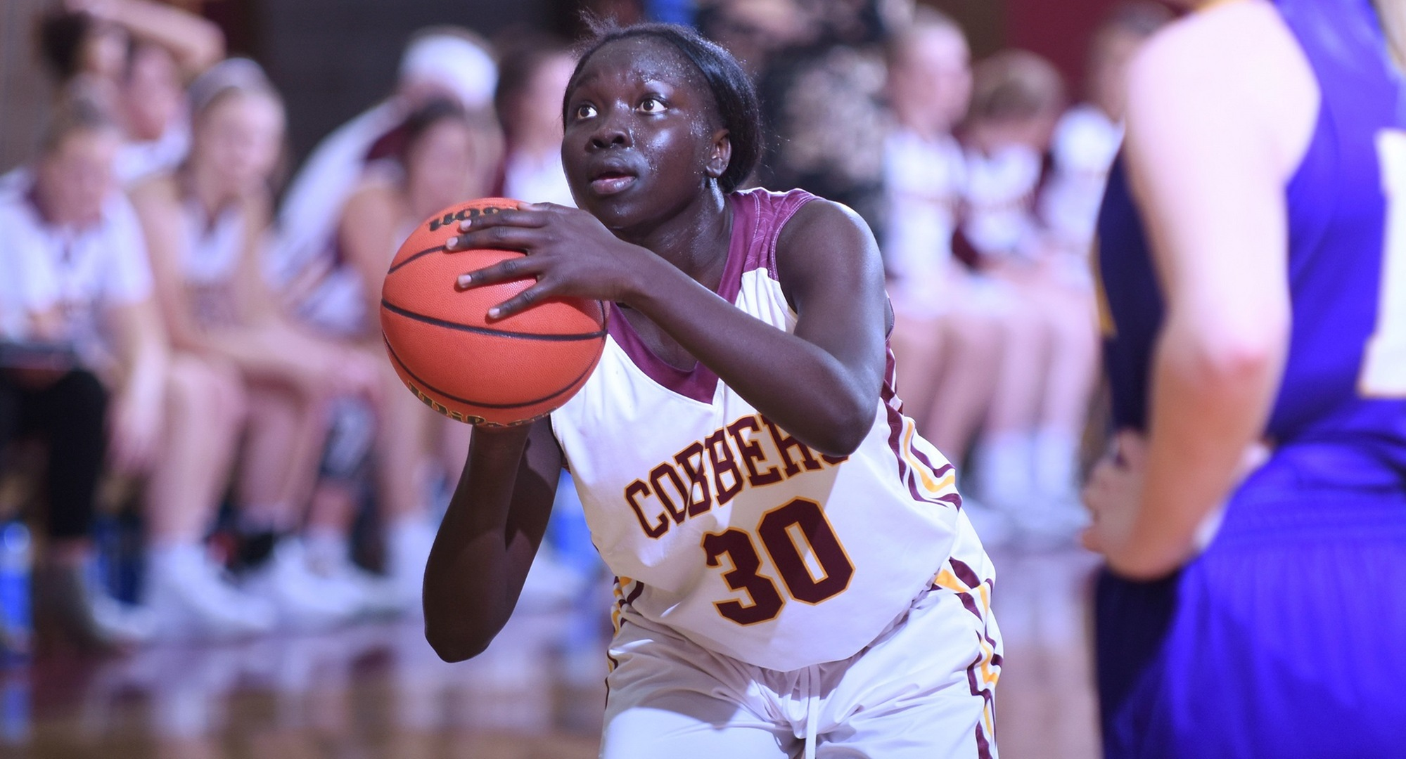 Mary Sem lines up to take a free throw during one of the Cobbers' home games this season. She leads the team in scoring.