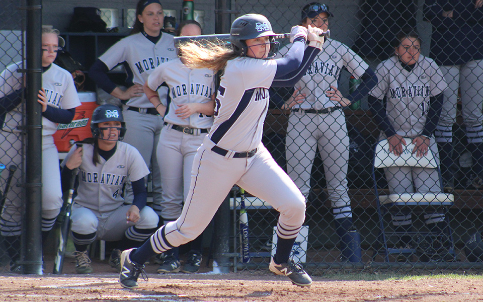 Junior Emily Stanilious connects for a hit in a non-conference game versus Rutgers-Camden at Blue & Grey Field.