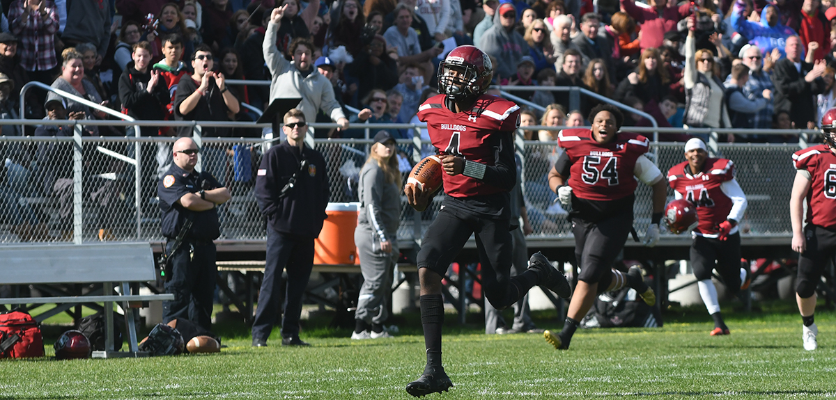 Terrell Watts accounted for 372 yards of total offense and four touchdowns in Saturday's 53-21 Homecoming win over Gallaudet University. Included in that total was a 66-yard touchdown run (pictured) midway through the second quarter (Lee Testor photo).