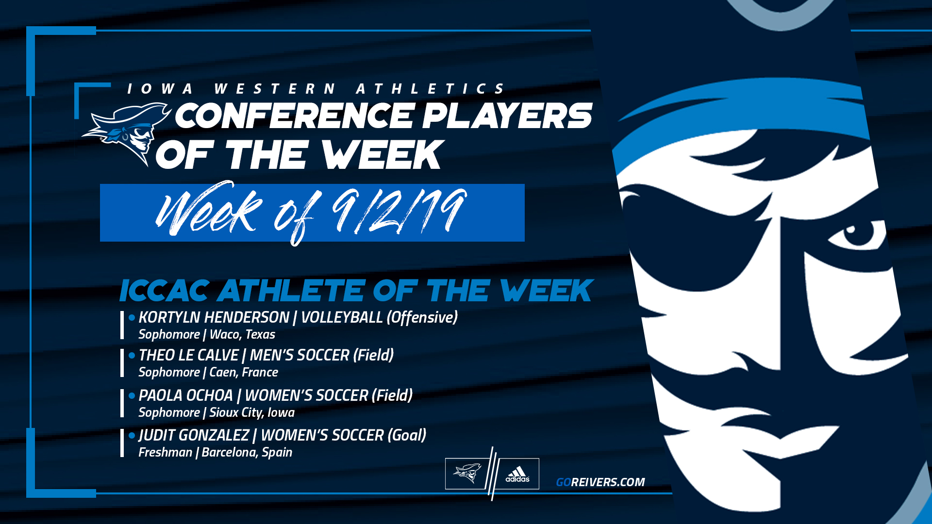 4 Reivers Named ICCAC Player of the Week