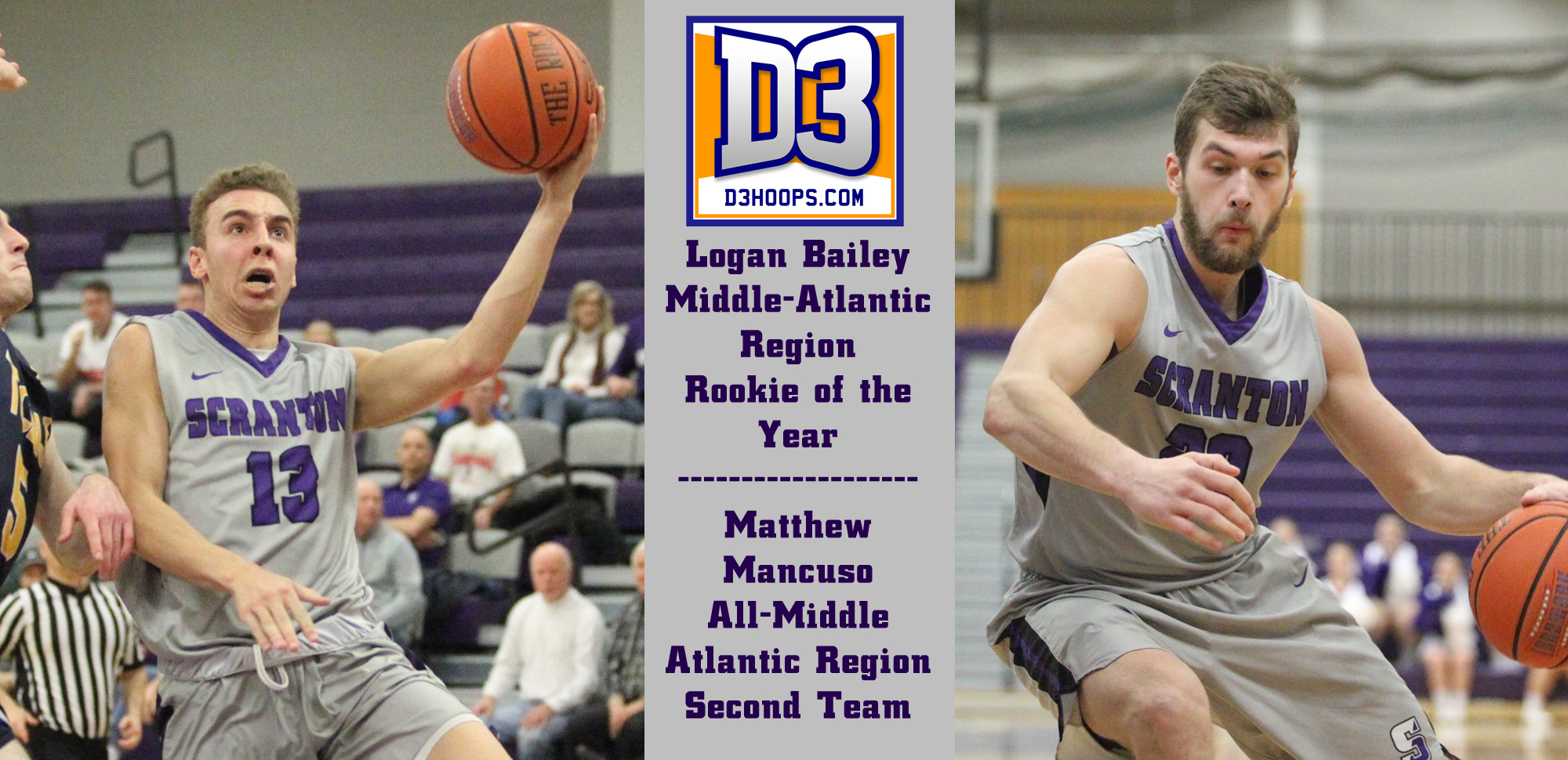 Sophomore Logan Bailey and junior Matthew Mancuso were both honored by D3hoops.com on Tuesday.