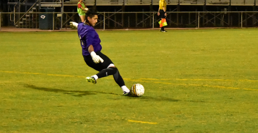 Freshman goalkeeper David Silva finished with five saves but the Aztecs men's soccer team fell in the West District finals 2-0 against Yavapai College. The Aztecs will be part of the NJCAA Division I Tournament from Nov. 13-18. Photo by Ben Carbajal.