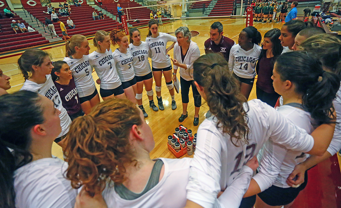 Maroon Volleyball Splits on Day 1 of UAA Round Robin, Tops NYU