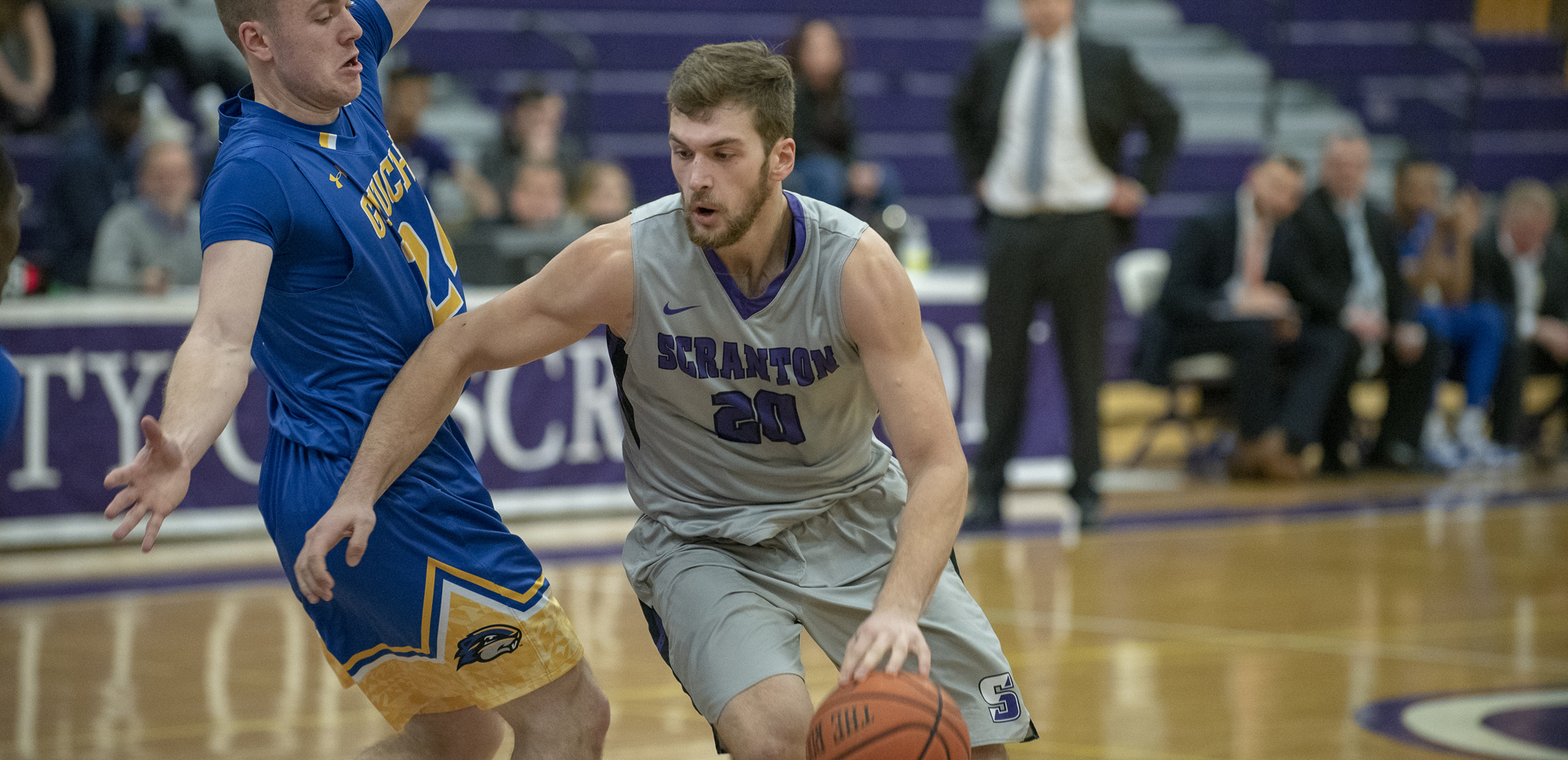Matthew Mancuso scored 18 points to go along with game-highs of six assists and two blocks while leading Scranton with seven rebounds in Wednesday night's loss to Susquehanna.