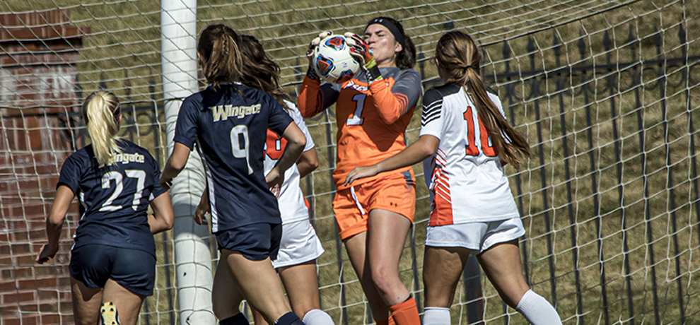 Danielle Breen had a career-high 10 saves against Wingate (photo by Chuck Williams)