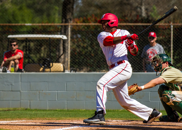 Right fielder Anthony Spivey was 4-for-4 with four RBIs and a run in Monday's 10-6 win over Piedmont. (Photo by Christopher Morgan)