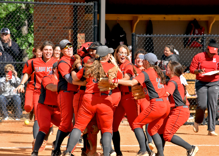 The Huntingdon softball team celebrates after Saturday's 6-3 win over LaGrange in the first round of the USA South Athletic Conference Tournament.