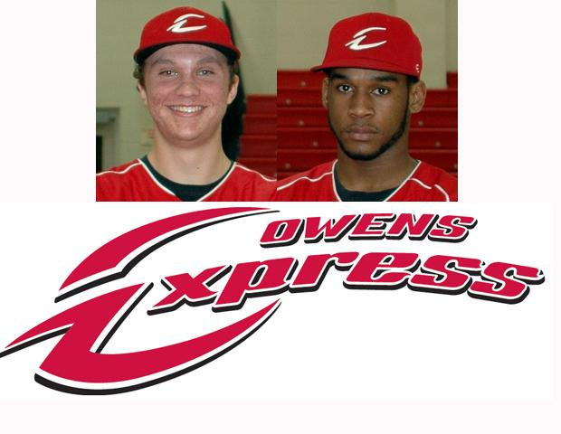 Logan Shullick, left, went 2-for-5, while Nick Collins, right, hit a solo home run in the second inning to lead the Express offense in an 8-3 loss to Kellogg CC.
