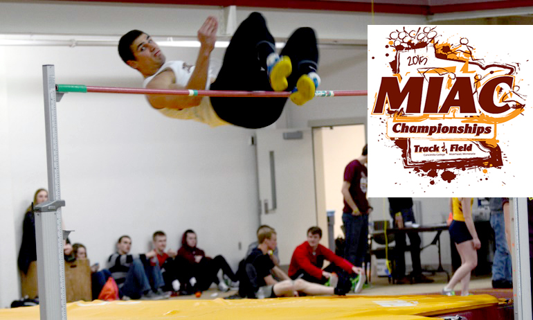 Brandon Zylstra clears the bar at 6-08.25 in the high jump at the MIAC Indoor Meet. He helped the Cobbers finish in sixth place.