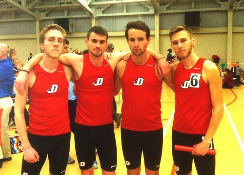 The men's distance medley relay set the school record on Friday night. The Red Devils clocked a time of.10:20.50 at the Susquehanna Invitational