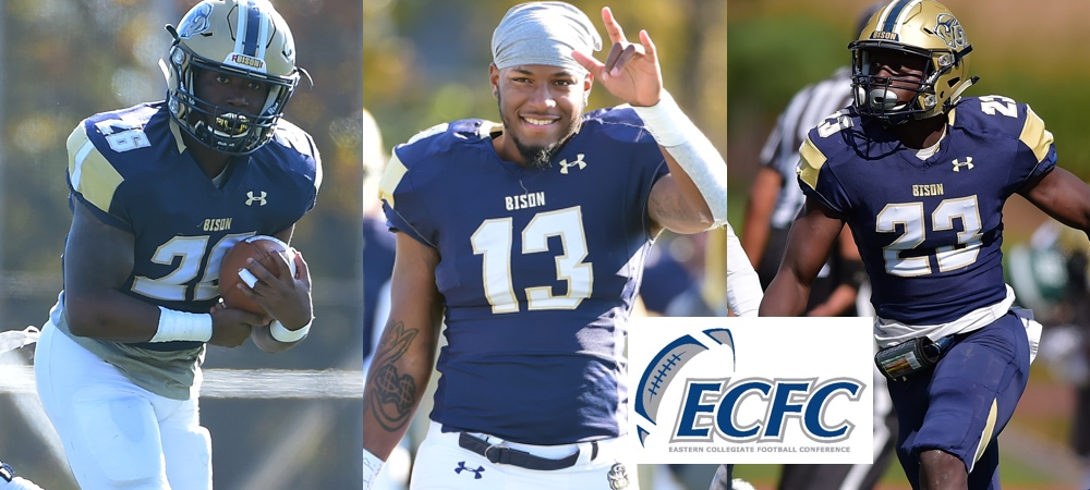 Gallaudet's three All-ECFC First Team honorees for 2018. Pictured left to right: RJ Randle, Demontrai Lewis, Louie Akuffo. An ECFC logo is in the middle, lower right corner.