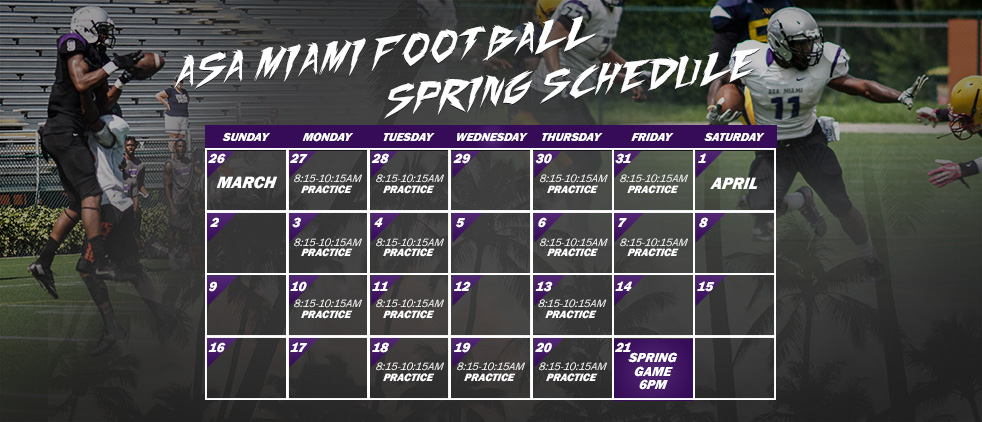 ASA Miami Announces Spring Football Schedule