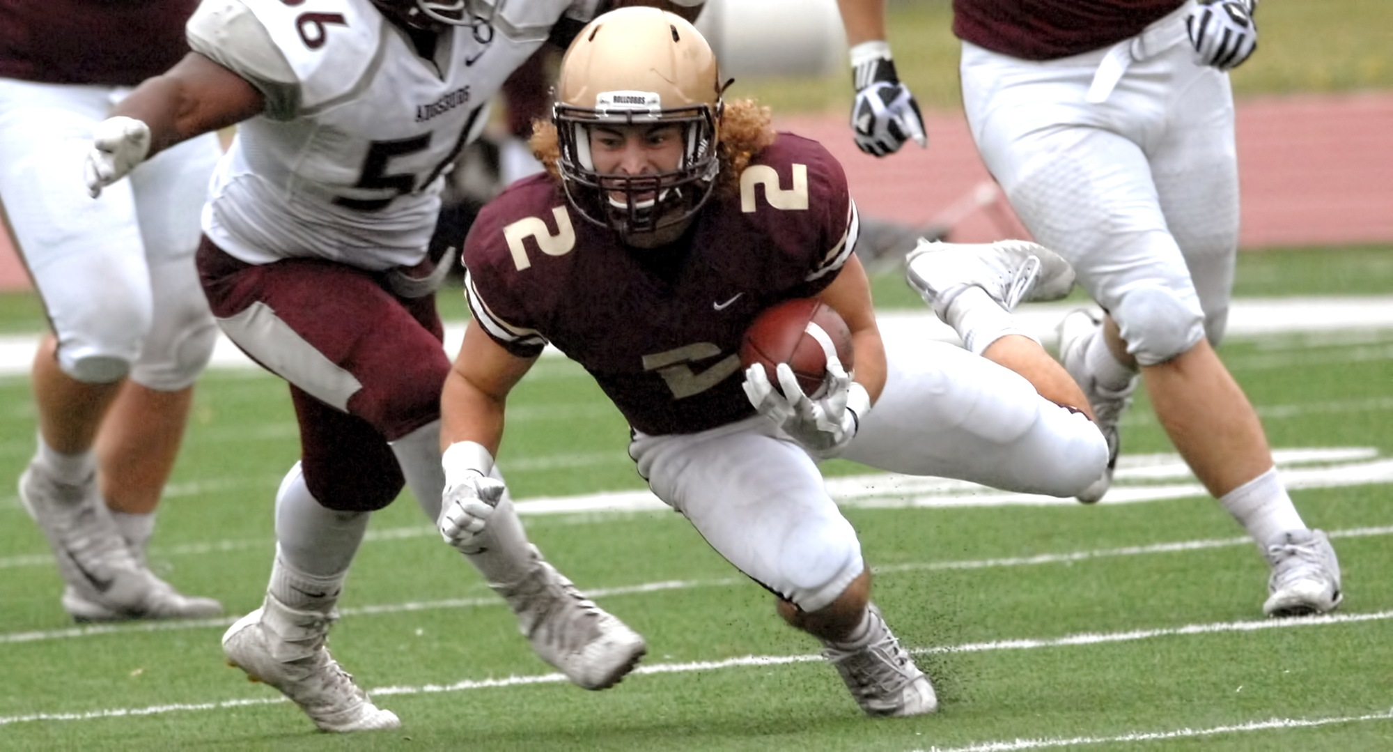 Senior Austin Maanum rushed for two touchdowns in the Cobbers' 35-12 win at Carleton.