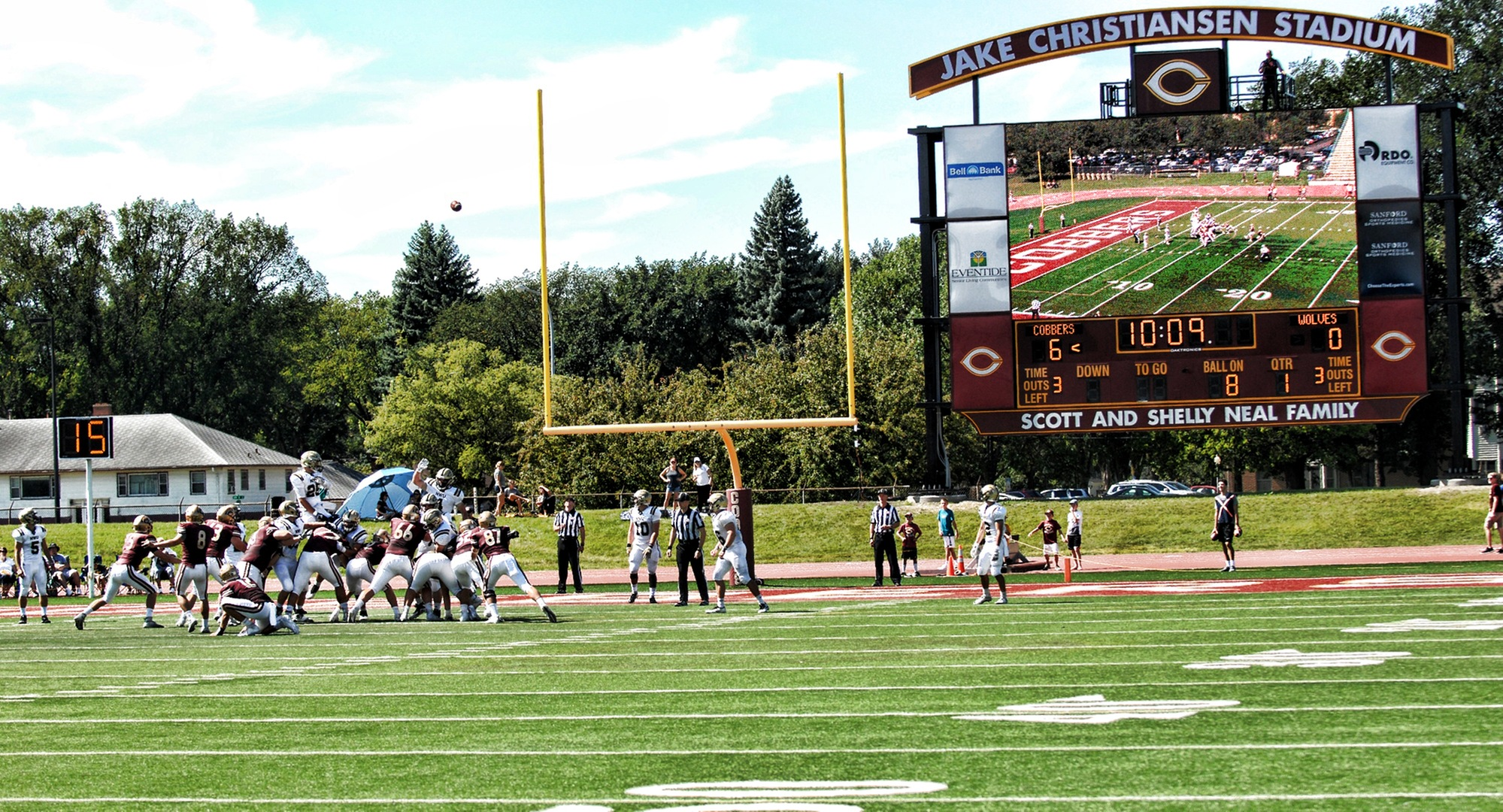 Senior kicker Tony Marzolf connects on an extra point in the Cobbers' season-opening win over Neb. Wesleyan which was the debut of the brand new $1 million scoreboard.