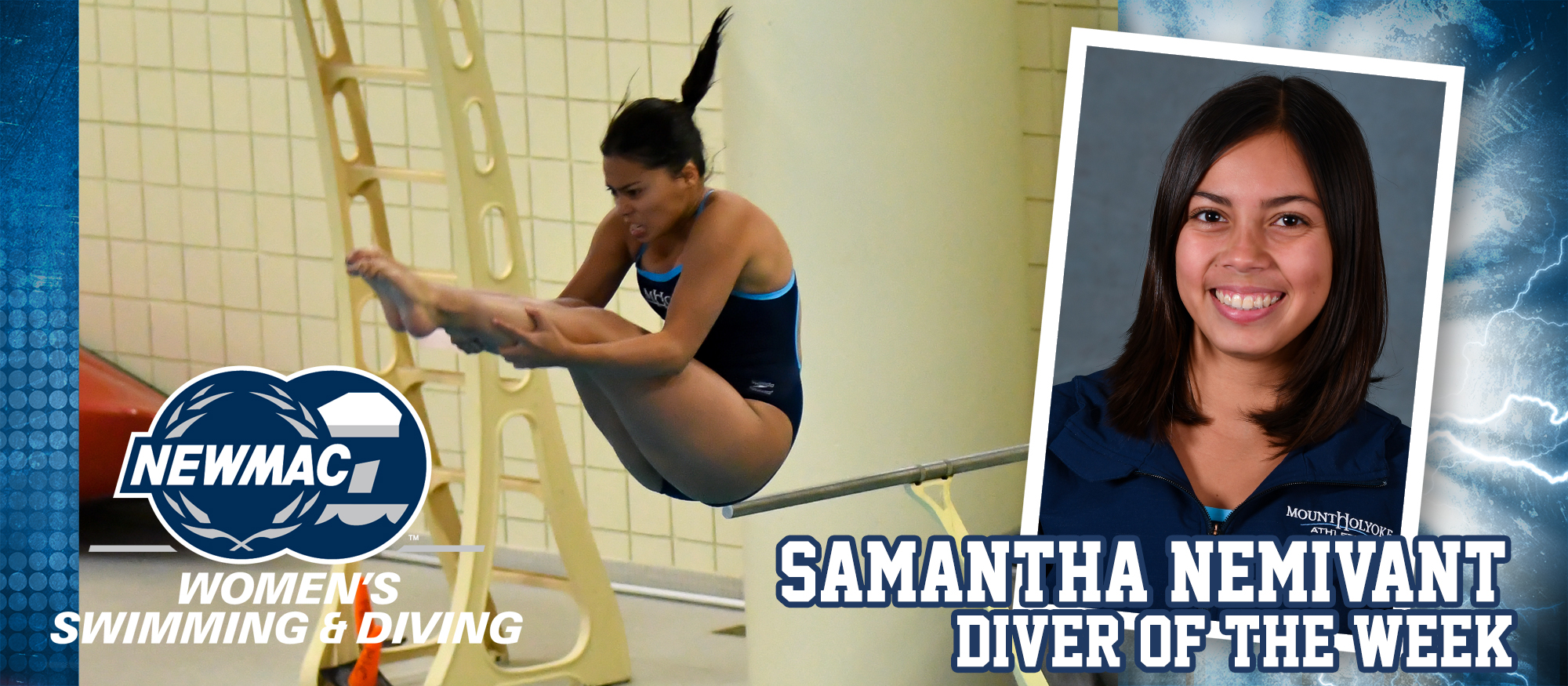 Images of Samantha Nemivant, who was named the NEWMAC Diver of the Week for January 22, 2019