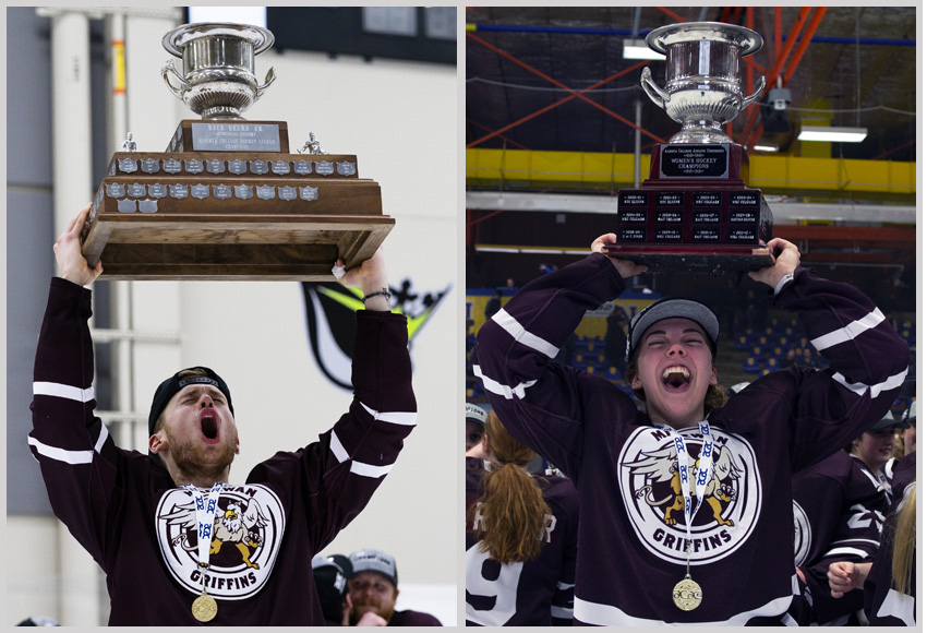 Cam Reagan, left, and Karlie Bell of the Griffins men's and women's hockey teams hoist their respective ACAC Championship trophies. The Griffins hockey teams will move into the Canada West conference in the 2020-21 season (Matthew Jacula, left, Len Joudrey photos).